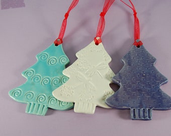 Pottery Tree Ornaments Christmas Ideas Stamped Beach Colors