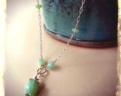 Sterling Silver Necklace with Peruvian Opal and Apatite