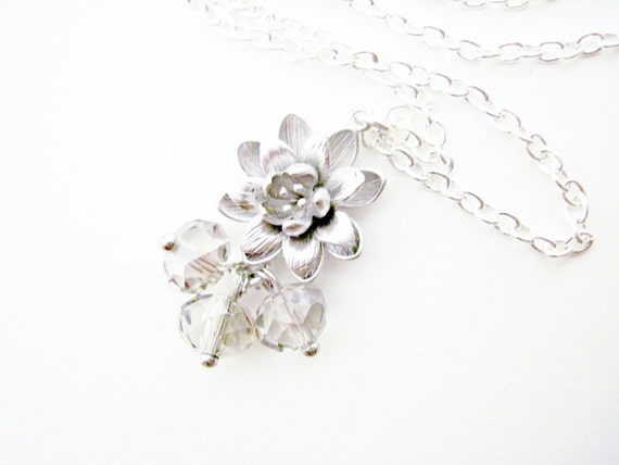 CLEARANCE SALE Lotus Flower Necklace in Sterling Silver