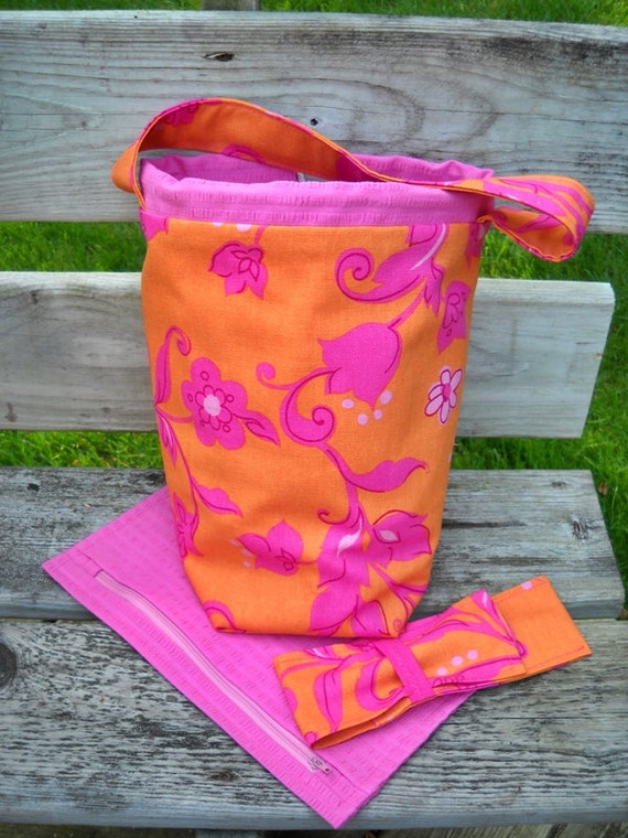 Knitting Project Bag Orange and Pink Cotton Canvas, Zipper Pouch, DPN Case, Lined Padded Drawstring, Pockets, Crochet Bag - Ships Free