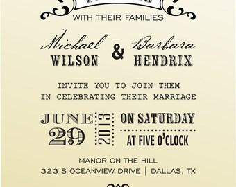 DIY Wedding invitation  vintage design typewriter font rubber stamp clear block mounted -style 6037INVITATION  - custom wedding stationary