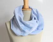 tiedyed scarf - infinity loop cloudy sky light blue like silk - handdyed