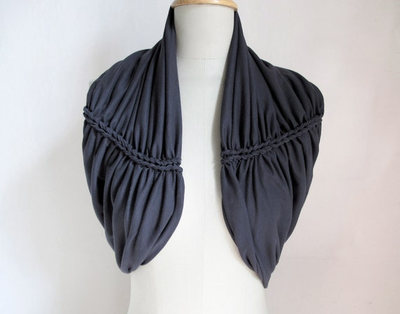 braided neckcowl jersey in dark grey charcoal