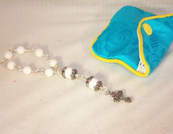 Anglican Chaplet - Travel / Pocket Rosary - Prayer Beads - Swarovski Ivory Gem
