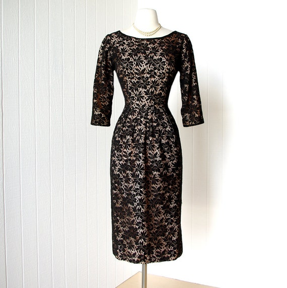 vintage 1950's dress ...sexy MARTHA MANNING black lace nude illusion bombshell wiggle cocktail party dress