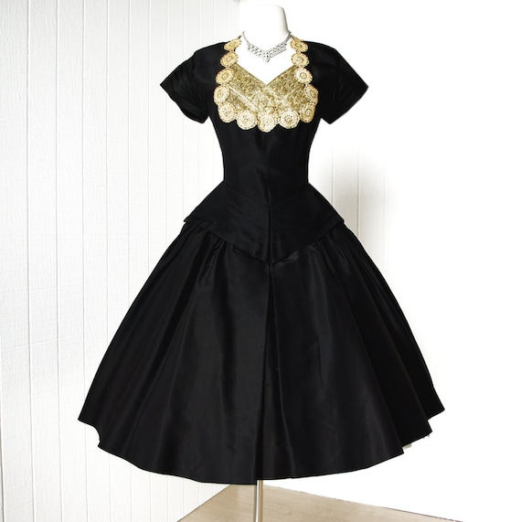30 PERCENT OFF CODE vintage 1950's dress ...lillie rubin miami black and gold full skirt cocktail party dress