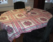 Vintage Tablecloth Wild Roses in Colorful Stripes MWT