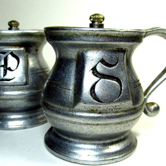 Vintage Pewter Salt and Pepper Shakers Made in USA