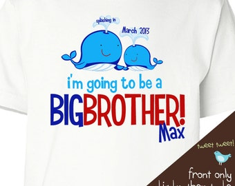 Big brother shirt- whale big brother announcement t-shirt front only