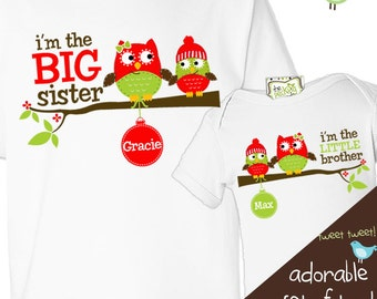 christmas big sister little brother winter holiday owls matching sibling shirt set (for any combination)