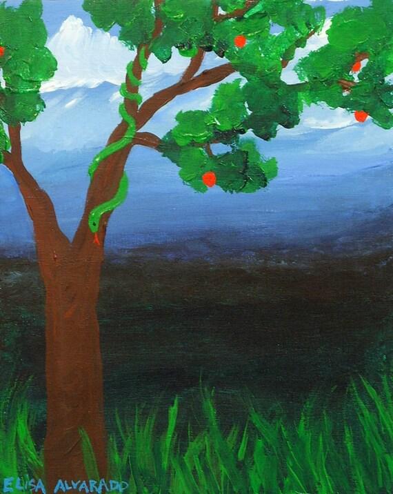Acrylic painting serpent tree original art garden of eden - Who was the serpent in the garden of eden ...