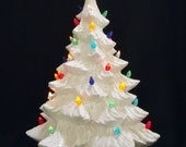 Silver Bells - 16 Inch White Ceramic Christmas Tree - Lights NOT Glued In