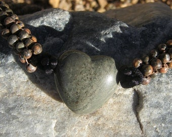 Jasper Heart Beaded Necklace FREE SHIPPING
