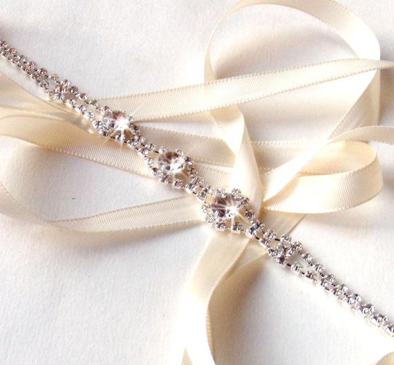 rhinestone ribbon bridal headband white or ivory satin silver and