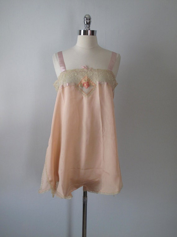1920s Chemise - Step In - 1920s Lingerie - Peach