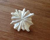Flower Button Clasp sterling silver chrysanthemum dahlia