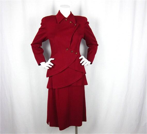 25% Off Storewide Sale // Vintage 1940s Cranberry Wool Suit, Sz S