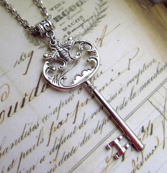 Skeleton Key Necklace with Tiny Honey Bee in Antique Silver Finish, Long Chain
