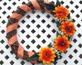 Spring Wreath - Summer Wreath - Orange Floral Wreath - Spring Door Wreath - Summer Door Wreath - Floral Wreath - Door Wreath - Plaid Wreath