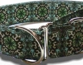 """1.5""""  Earth Star (Fabulous Blue, Greens and Brown)   Martingale Collar Size Large CLOSE OUT"""