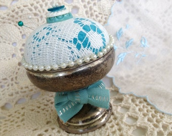 AQUA SILVER PINCUSHION, Vintage Lace n Buttons,Pearls,Sewing Gift,Sewing Decor,Holiday Gifts,Dressmaker Supply,Notions,Ooak Gift,Silver Gift