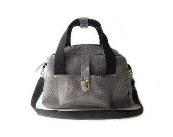 grey leather shoulderbag bowling bag hand bag