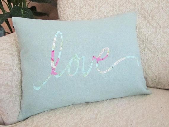 LOVE Applique Throw Pillow Cover Decorative Cushion Cover Seaspray spa blue - 12 x 16 Hemp