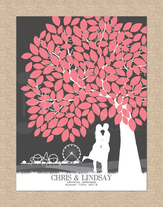 Wedding Tree Guestbook // Skyline & Silhouette Print, personalized // 175 Signature Guestbook // W-T05-1PS HH3