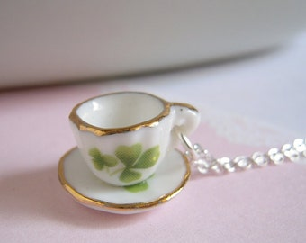 Green Clover Tea Cup Necklace, Miniature Cup Necklace, Ceramic Cup Pendant On Silver Chain Or Brass Chain