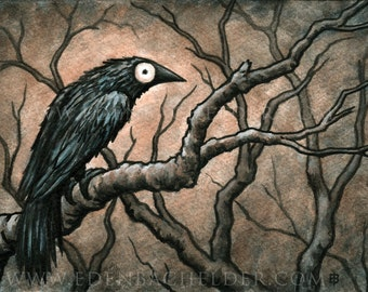 Signed and matted print of original Black Bird VIII watercolour painting by Eden Bachelder, ready to frame. Raven, crow, corvid.
