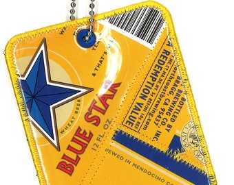 Luggage Tag frm Repurposed North Coast Brewing Blue Star Wheat Beer Labels