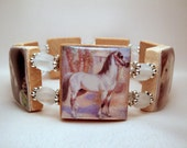 ARABIAN HORSE Jewelry / SCRABBLE Bracelet / Unusual Gifts / Upcycled Art