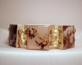 CLUMBER SPANIEL Jewelry / SCRABBLE Bracelet / Handmade Dog Lover Gift