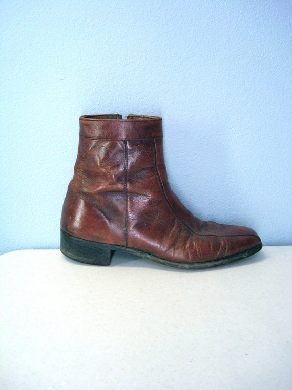 vintage 1970s ankle boots mens 70s brown leather by
