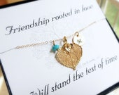 Personalized NECKLACE with message card, friendship, leaf necklace, bridemsaid gifts, autumn wedding, best friends gift