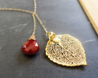 Gold Leaf & Ruby Necklace, Lariat necklace, birthstone necklace, Leaf necklace, Y necklace, July birthstone, bridesmaid gift, y necklace