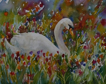 SALE Original Watercolor Painting Swan Bird Flowers Floral Sarah Davis