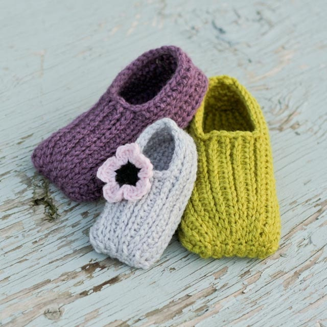 Free Crochet Pattern Slipper Child : Crochet Slipper Pattern Knit look Slippers Newborn to Child