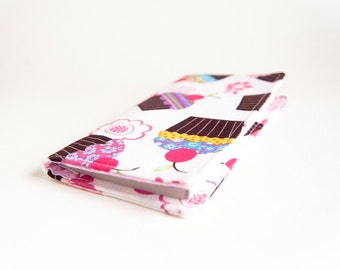 FREE SHIPPING, Checkbook Cover Wallet, White Brown Pink Cupcakes Coupon Holder
