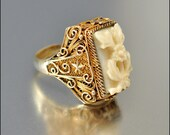 Art Deco Ring Silver Gold Chinese Ivory Carved Flower Star Vintage 1920s Jewelry