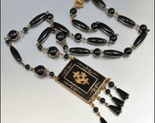 Art Deco Necklace Czech Glass Enamel Gold Gilt Brass Pendant Black Vintage 1920s Jewelry