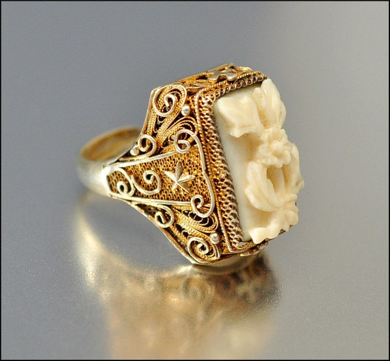 Art Deco Ring Silver Gold Chinese Ivory Carved Flower Star