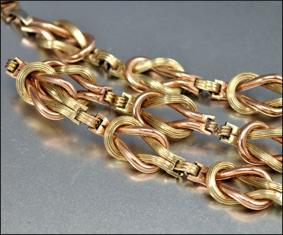 Art Deco Necklace Rose Gold Fill Love Knot Victorian Rev Vintage 1930s Jewelry
