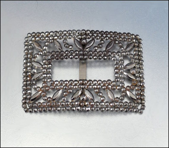 Antique Victorian Belt Buckle Silver Cut Steel French France Silver Accessory Vintage Jewelry