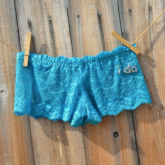 BRIDAL sexy boyshort panty turquoise Lingerie with bling -  words I DO in rhinestones size Small - Ships in 24hrs