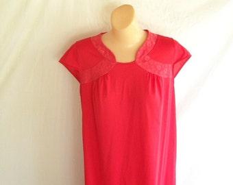 Vintage Nightgown Red Nightie Waltz Length Nightgown Lingerie