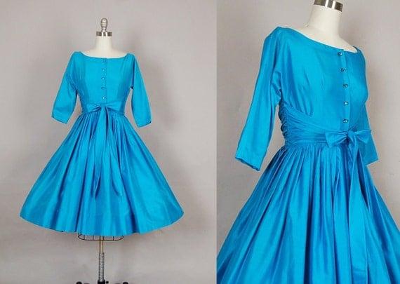 RESERVED.....vintage 1950s dress full skirt cotton turquoise rhinestone designer party