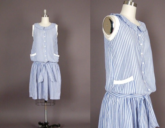 vintage dress, 1980s dress 80s dress striped seersucker day dress blue white
