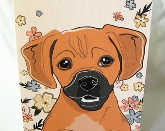 Floral Puggle Greeting Card