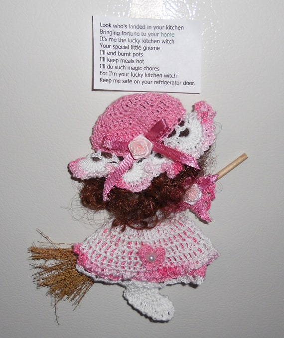 Pink and White Crocheted Kitchen Witch Broom Doll Fridgie